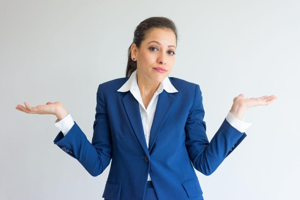 Human Error, woman shrugs shoulders